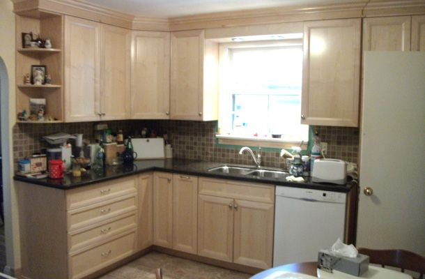 kitchen with light coloured cabinets